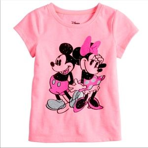 Mickey & Minnie Mouse Baby Girl Shirt Pink
